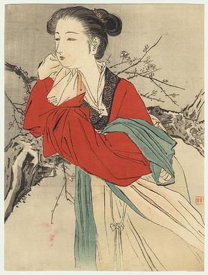 Kajita Hanko: Chinese Lady in Red - Japanese Art Open Database