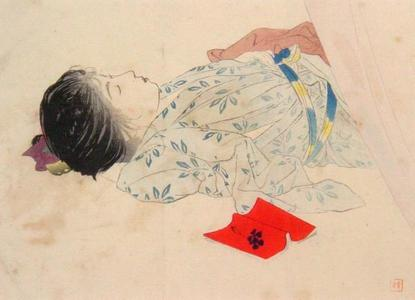 Kajita Hanko: Sleeping woman — 眠る婦人 - Japanese Art Open Database