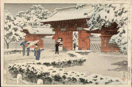 笠松紫浪: Hongo Akamon no Yuki (Hongo Red Gate in Snow) - Japanese Art Open Database