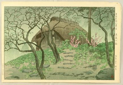 笠松紫浪: Suenaga District in Rain — 末長の雨 - Japanese Art Open Database
