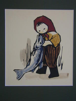 河野薫: Boy and Fish - Japanese Art Open Database