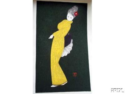 河野薫: Dancing Figure (Camellia) - Japanese Art Open Database