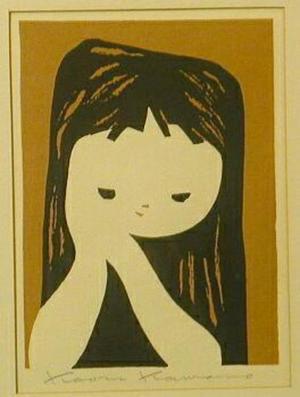 Kawano Kaoru: Girl clasping hands - Japanese Art Open Database