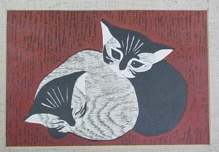 河野薫: Two kittens - Japanese Art Open Database