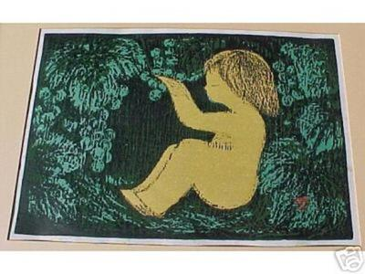 河野薫: Unknown A Seated Girl Under a Tree with Fruit - Japanese Art Open Database