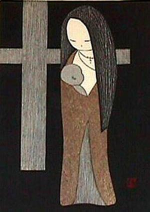 河野薫: Woman Holding a Baby - Japanese Art Open Database
