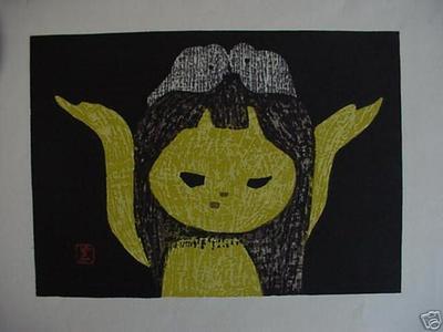 河野薫: young girl with birds in her hair - Japanese Art Open Database