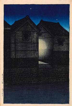 川瀬巴水: Night at Shinkawa - Japanese Art Open Database