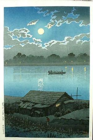 川瀬巴水: MOONLIGHT ON ARAKAWA RIVER, AKABANE - Japanese Art Open Database