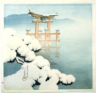 川瀬巴水: Lingering Snow at Miyajima - Japanese Art Open Database