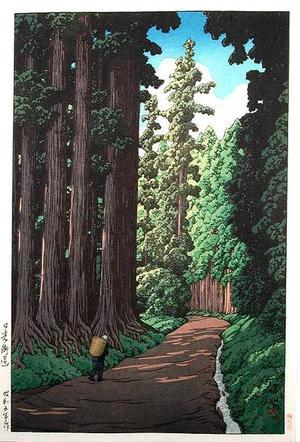 川瀬巴水: An Avenue at Nikko - Nikko Kaido - Japanese Art Open Database