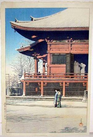 川瀬巴水: Asakusa Kannon in the Snow - Japanese Art Open Database