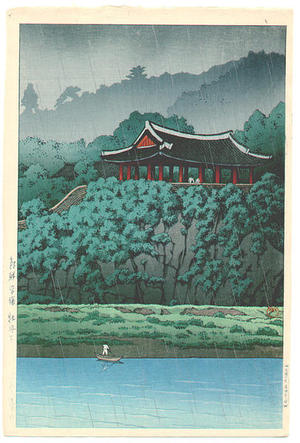 川瀬巴水: Botan Dai at Ping-yang, Korea — 朝鮮平嬢 - Japanese Art Open Database