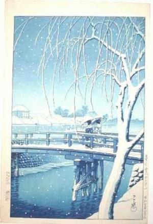 Kawase Hasui: Evening Snow at Edogawa - Japanese Art Open Database