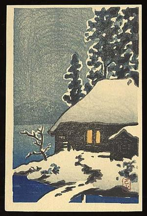 川瀬巴水: Evening View of a Snow Covered Cottage - Japanese Art Open Database