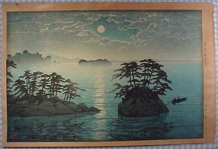 川瀬巴水: Futago Island - Moonlight At Matsushima - Japanese Art Open Database