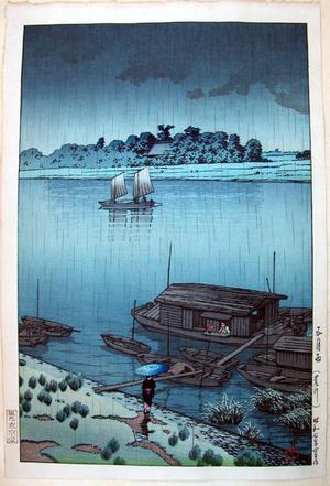 川瀬巴水: May Rain- Arakawa — 五月雨(荒川) - Japanese Art Open Database