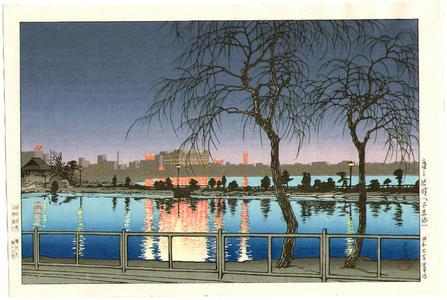 川瀬巴水: Night at the Pond Edge- Shinobazu Pond — 夜の池畔(不忍池) - Japanese Art Open Database