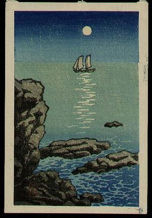 Kawase Hasui: Night moon sailboat sea - Japanese Art Open Database