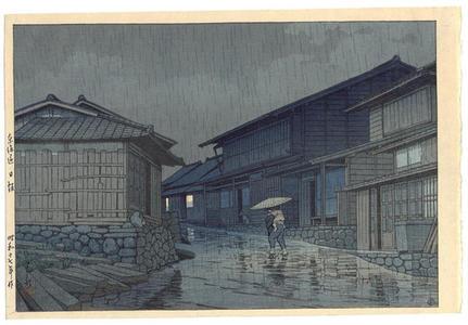 川瀬巴水: Nissaka in Rain, Nissaka on Tokaido - Japanese Art Open Database