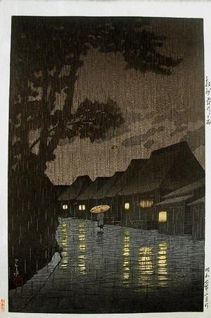 川瀬巴水: Rainy Night at Maekawa — 相州前川の雨 - Japanese Art Open Database