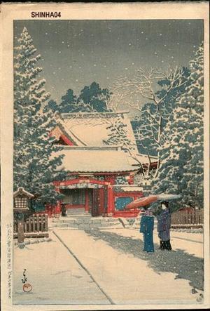 川瀬巴水: Shato no Yuki Hie Jinja - Japanese Art Open Database