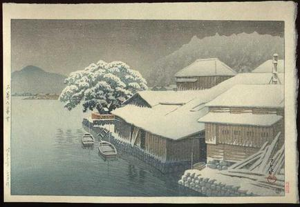 Kawase Hasui: Snow Falling at Ishinomaki - Japanese Art Open Database