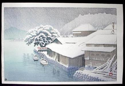 川瀬巴水: Snow Falling at Ishinomaki - Japanese Art Open Database