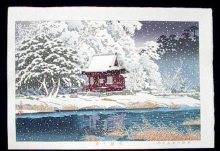 川瀬巴水: Snowy Inokashira, Benten - Japanese Art Open Database