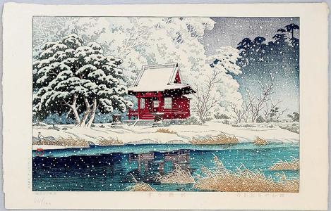 川瀬巴水: Snowy Inokashira, Benten - Japanese Art Open Database