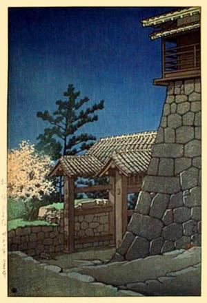 川瀬巴水: Tonashi Gate, Matsuyama Castle — 松山城 戸無門 - Japanese Art Open Database
