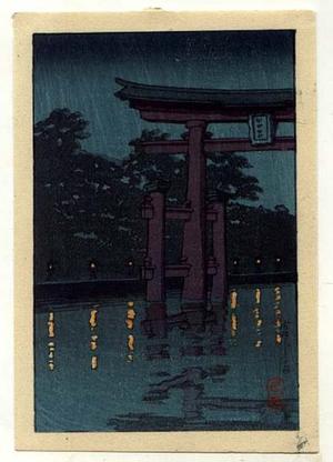 Kawase Hasui: Unknown- Torii at night - Japanese Art Open Database