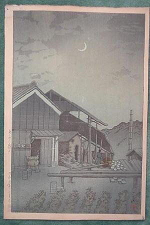 川瀬巴水: Unknown, night, factory - Japanese Art Open Database