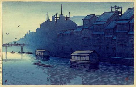 川瀬巴水: Morning at Dotonbori- Osaka - Japanese Art Open Database