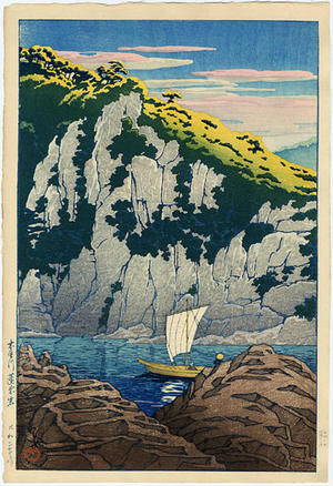 川瀬巴水: Horai rock in the Kiso River - Japanese Art Open Database