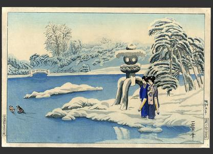 織田一磨: A snowy day at a garden in Kyoto - Japanese Art Open Database