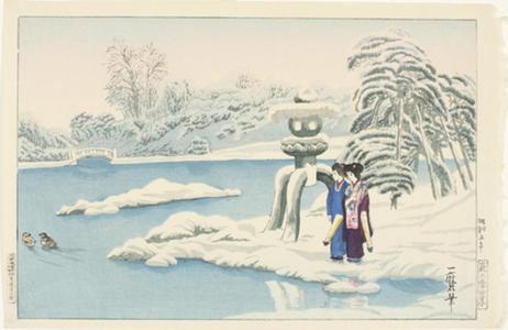 Oda Kazuma: A snowy day at a garden in Kyoto - Japanese Art Open Database