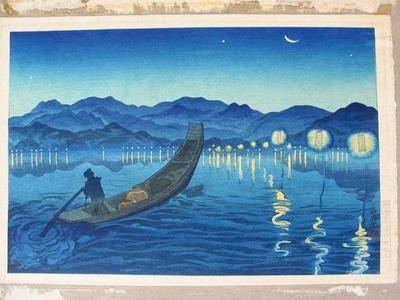 織田一磨: Unknown, night lake sea boat moon - Japanese Art Open Database