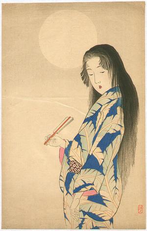 武内桂舟: Bijin Under the Moon — 月下美人 - Japanese Art Open Database