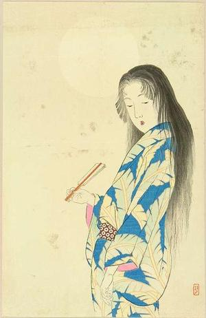 武内桂舟: Bijin Under the Moon — 月下美人 - Japanese Art Open Database