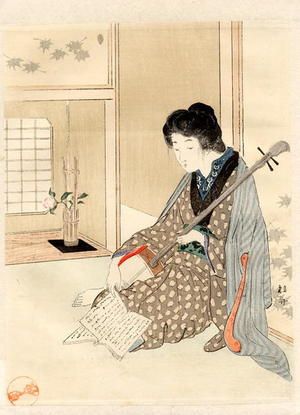 Takeuchi Keishu: Bijin and Shamisen - Japanese Art Open Database