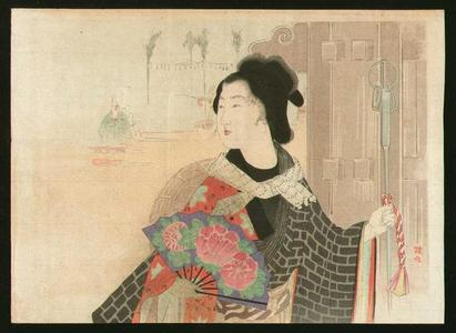武内桂舟: Bijin with a fan - Japanese Art Open Database