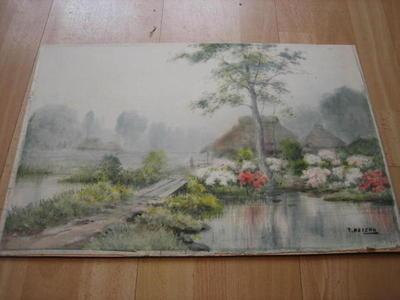 Takeuchi Keishu: Farm with stream and flowers - Japanese Art Open Database