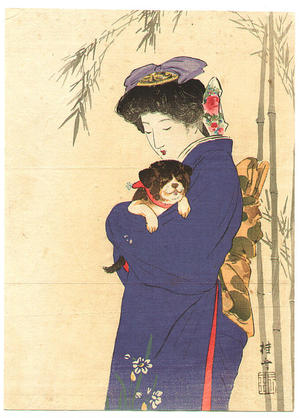 武内桂舟: Lady and Puppy - First Laugh - Japanese Art Open Database