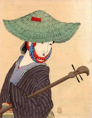 武内桂舟: Young bijin wearing a large green straw hat holding a biwa - Japanese Art Open Database