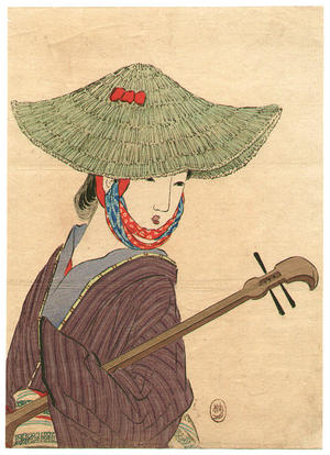 Takeuchi Keishu: Young bijin wearing a large green straw hat holding a biwa - Japanese Art Open Database