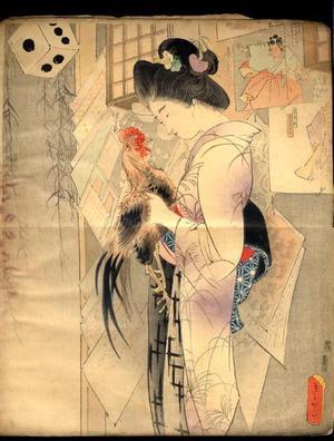 鏑木清方: Bijin and Rooster — 三枚続 - Japanese Art Open Database