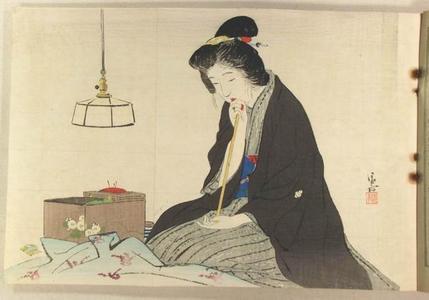 鏑木清方: Bijin sewing - Japanese Art Open Database