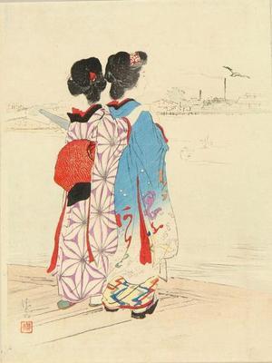 鏑木清方: Bijins Viewing River - Japanese Art Open Database