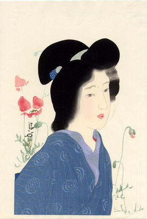 鏑木清方: Girl with Poppies - Japanese Art Open Database